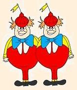 Tweedledum and Tweedledee in Alice in Christmas Land
