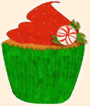 Caterpillar's mushroom is a cupcake in Alice in Christmas Land!